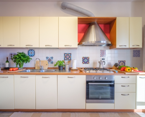 The White House On Lake Maggiore (TWHOLM) - The Kitchen with its cheerful colors and tiles